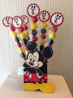 Mickey mouse centerpiece minnie mouse by designsbyemilys on etsy Mickey Mouse Theme Party, Mickey Mouse Centerpiece, Fiesta Mickey Mouse, Mickey Mouse Baby Shower, Mickey Mouse Clubhouse Birthday Party, Mickey Mouse Birthday, Mickey 1st Birthdays, Clubhouses, Mikey Mouse