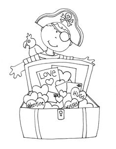 Free Dearie Dolls Digi Stamps: Pirate Valentines Free Coloring Pages, Coloring Sheets, Coloring Books, Valentines Day Coloring Page, Valentines For Kids, Kids Connection, Primitive Stitchery, Boy Cards, Stamp Printing