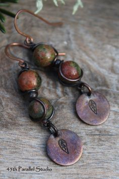 Unakite Copper Earrings Hand Stamped Jewelry by 45thParallelStudio