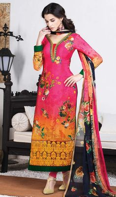 Compliment your attitude draped in this peach and pink color printed crepe silk churidar kameez. The brilliant dress creates a dramatic canvas with remarkable block print, lace, resham and stones work. #pinkcolordress #indiansallwarkameez #indianwears