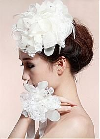 Elegant  Raw Silk & Tulle & Feathers Fascinator and Wrist Flower  For Your Wedding Dress