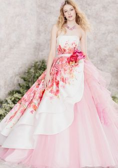 Hardy Amies London Pink Printed Wedding Dress / http://www.deerpearlflowers.com/floral-wedding-dresses/