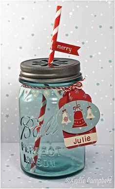 use our mason jars, daisy lids, paper straws and baker's twine to recreate this using Fa-la-la papers and stickers