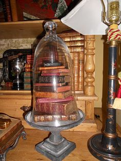 Miniature books under a cloche. This is so Harry Potter-esque, I can hardly stand it...