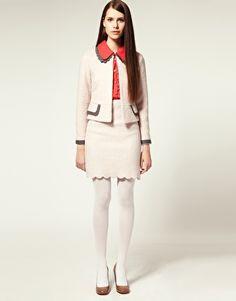 Asos Nishe Scalloped Hem Wool Pencil Skirt and Jacket