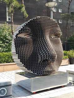 """spatula: """"(via Figurative Faces Emerge From Layers of Tightly Stacked Pipes - My Modern Met) Yi Chui Hee """" Straw sculpture!"""