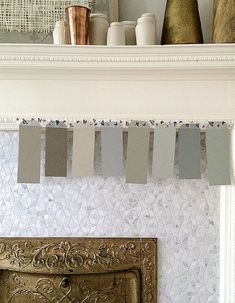 They are from left to right: Light Grey, Mouse's Back, Stoney Ground, Lamp Room Grey, French Grey, Mizzle, Pigeon and Blue Grey all by Farrow and Ball.