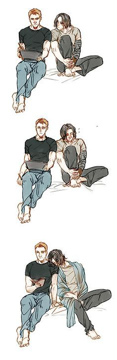 When Bucky can't sleep, no matter where they are, he leans on Steve and his mind settles enough to fall asleep.