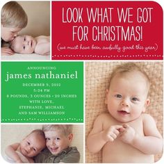 Announcement/Christmas card...cute an  I like that it includes an older sibling pic as well. Awesome since this one is due dec 20 lol