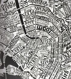 Map titled 'Amsterdam' by Mark Andrew Webber | Medium: Lino cut print