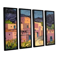 Taos Pueblo by Rick Kersten 4 Piece Floater Framed Canvas Set