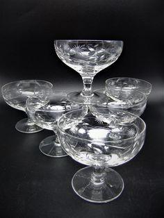 Champagne Saucers, Crystal Glassware, Vintage Floral, Floral Design, Cocktails, Crystals, Glasses, Elegant, Tableware