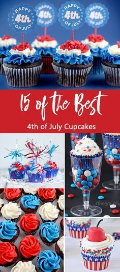 Weve found 15 of the Best of July Cupcakes and they are red, white and blue and delicious! Theyd be perfect for your Fourth of July party or summer family BBQ! These 15 yummy Patriotic Cupcakes will be a delicious of July treat. Pin these easy to m Fourth Of July Cakes, 4th Of July Desserts, Fourth Of July Food, 4th Of July Party, Holiday Desserts, Holiday Treats, July 4th, Holiday Recipes, Holiday Foods