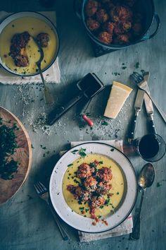 dinner, con polenta, italian meatbal, healthi eat, polpett al