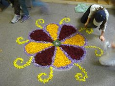 RANGOLI MADE FOR DIWALI WITH FLOWER PETALS 5TH GRADE