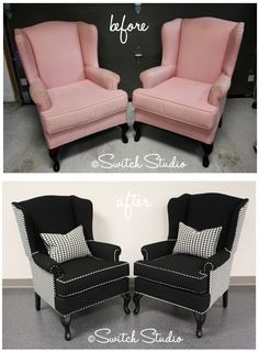 Switch Studio reupholstered wingback chairs, black and white, houndstooth - LOVE {for sale}