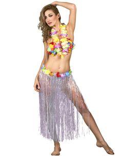 ca705b16df7 Lang hvid kjole Hawaii inspireret voksen, køb Kostumer til voksne på  Vegaoo.dk.
