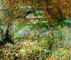 Banks of the Seine with Pont de Clichy in the Spring, by Vincent Van Gogh. Vincent Willem van Gogh (1853-1890) was a Dutch post-Impressionist painter whose work -- which contained a rough beauty with bold colors -- was widely influential on 20th century art; however, the artist's work was mostly unknown during his own lifetime. On VintPrint.com as a #poster. #art #fineart #painting #vangogh