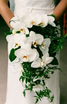 orchid cascade bouquet - but perhaps in the deep pink orchids White Orchid Bouquet, Orchid Bouquet Wedding, Cascading Wedding Bouquets, Summer Wedding Bouquets, Beach Wedding Flowers, Cascade Bouquet, Bride Bouquets, Floral Bouquets, Floral Wedding
