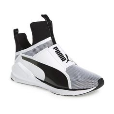 PUMA 'Fierce Core' High Top Sneaker ($90) ❤ liked on Polyvore featuring shoes, sneakers, mesh shoes, puma trainers, slip-on sneakers, slip on sneakers and mesh slip on shoes