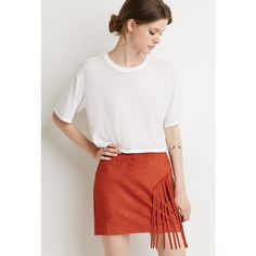 Love 21 Fringed Faux Suede Skirt ($20) ❤ liked on Polyvore featuring skirts, love 21, faux suede skirt, fringe skirt, full length skirt and faux suede fringe skirt