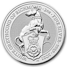 British Royal Mint Queen's Beast; White Greyhound - 2 Oz Silver Coin .9999 Pure Bullion Coins, Silver Bullion, Tudor Rose, Wood Burning Patterns, Mint Gold, Coin Collecting, Silver Coins, Great Britain, Beast