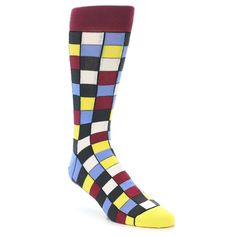 Blues Yellow Red Checkered Men's Dress Socks | boldSOCKS