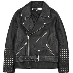 Womens Biker Jackets McQ Alexander McQueen Black Studded Leather Biker... (2.685 BRL) ❤ liked on Polyvore featuring outerwear, jackets, leather jacket, coats & jackets, studded jackets, studded moto jacket, leather motorcycle jacket, studded leather biker jacket and asymmetrical zip jacket