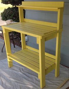 Daffodil Yellow Potting Bench Do It Yourself Home Projects from Ana White Potting Bench Plans, Potting Tables, Potting Sheds, Diy Garden Furniture, Furniture Plans, Concrete Furniture, Porch Furniture, Outdoor Furniture, Furniture Projects