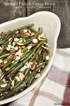 A delicious recipe for Sauteed French Green Beans with toasted almonds. These are great as a side dish for every day, or perfect for the holiday season!