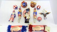 Contemporary Glass Patriotic Xmas Ornaments : Lot 240