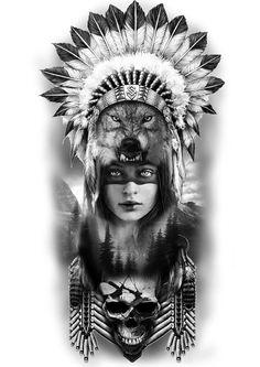 Red Indian Tattoo, Indian Girl Tattoos, Indian Skull Tattoos, Indian Tattoo Design, Native American Tattoos, Native Tattoos, Native American Cherokee, Leg Tattoo Men, Leg Tattoos
