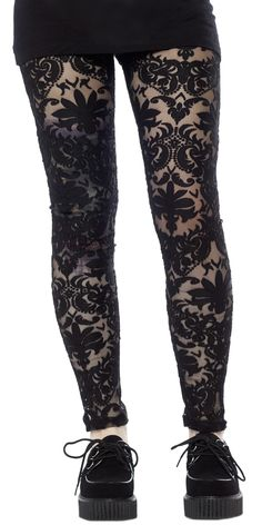 FOLTER SPELLBOUND LEGGINGS - Casting spells and breaking hearts, it's all in a nights work. These mesh Spellbound Leggings feature an all-over damask burnout pattern, so be sure to pair it with your favorite tunic or dress.