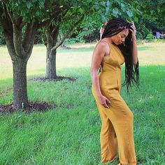 #browngirlslove Jumpsuits! Loving this mustard jumpsuit on @faceovermatter  #summeressential #jumpsuit #fashion #style #brownbeauty