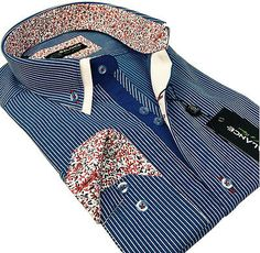 New Mens Smart Casual Blue, White Striped Double Collar Italian Slim Fit Shirt