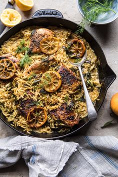 One Skillet Lemon Butter Chicken and Orzo: This recipe is not only delicious, it's also super easy...one skillet, under an hour, and uses mostly pantry staple ingredients. @halfbakedharvest.com