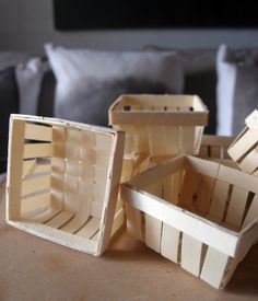 Mini Wood Basket Favors, 2.75 X 2.75 X 1.35 In, 6 Pc
