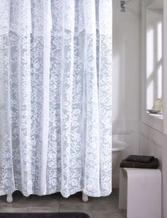 This Traditional Lace Fabric Shower Curtain Features A Lovely Floral Pattern And An Attached Valance For