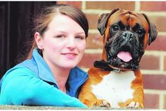 Look at that smile!  (The lady, too.)  (boxer)