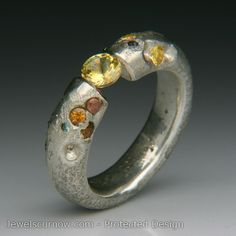 "Jewels Curnow  ||  Ophiuchus Tension Set Yellow Sapphire in Silver Ring with Sapphires. Non-tarnishing Silver 1"" x 1"" x .24"""