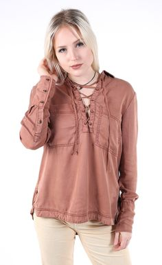 Free People Under Your Spell Lace Up Top - Find your next adventure in this dreamy lace-up tunic. Keep it casual chic with a simple pair of blue jeans to fill your wanderlust style.