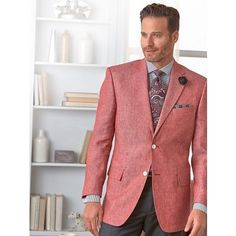 Men's Clothing, Smart Style for Professional Men Pink Jacket, Jacket Style, Summer 2016 Trends, Linen Sport Coat, Smart Styles, Suit And Tie, Classic Outfits, Vest, Menswear