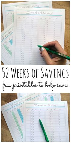 Print these 52 weeks of savings printables for an easy way to start saving money in the new year!