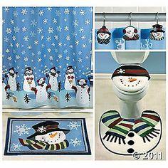 Snowman Bathroom Set Holiday Shower Curtains Curtain Christmas Wood Country