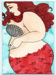 Fat girl mermaid print