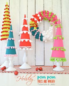 #HolidayIdeaExchange I whipped up some whimsical pom pom trees and a matching wreath for the party :)