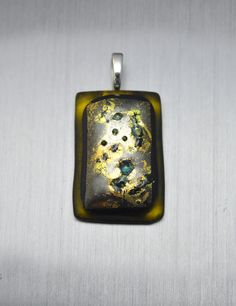 Yellow and golden glass pendant by Kaelay on Etsy