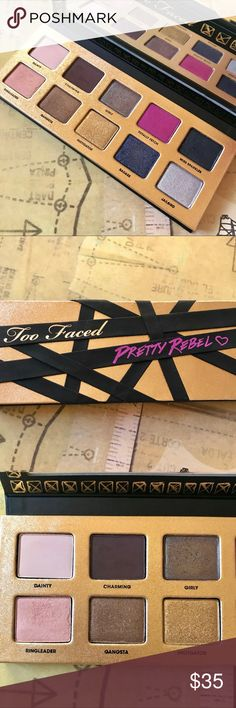 Too Faced Pretty Rebel Palette Limited edition discontinued Pretty Rebel palette from Too Faced. This palette has 10 eyeshadows, gently used. Too Faced Makeup Eyeshadow