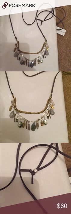 Silpada necklace courtyard chic New, beautiful adjustable on leather cord composed of many beautiful stones among them agate, labradorite and shell plus silverI have all 3 necklaces pictured in first image in my closet if you so desire to bundle and make an offer!!! Silpada Jewelry Necklaces