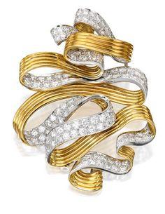 18 Karat Gold, Platinum and Diamond Brooch, David Webb:  Designed as a swirled ribbon, set with round diamonds weighing approximately 6.70 carats, signed David Webb.